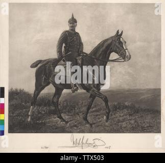 Emperor Wilhelm II on horse, equestrian image, in field grey uniform photoengraving based on painting by Richard Benno Adam from 1915 / 16, with original autograph of the emperor from 1917, Artist's Copyright has not to be cleared - Stock Photo