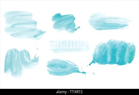 Watercolor. Blue vector abstract painted ink strokes set on watercolor paper. Ink strokes. Flat kind brush stroke. - Stock Photo