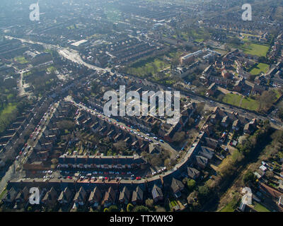 aerial view of Beverley road, kingston upon Hull - Stock Photo