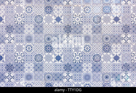 White and blue geometric azulejo tile wall texture or background - Stock Photo