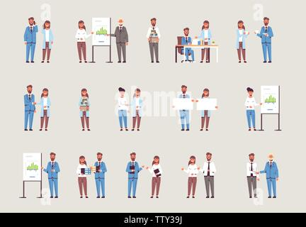 set businesspeople in different working situations business people working process successful teamwork concepts collection male female colleagues - Stock Photo