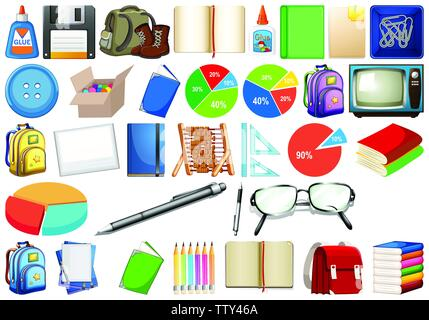 Set of stationery object illustration - Stock Photo