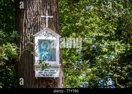 Saint-Germain-en-Laye (northern France): hiking trail Òsentier des oratoiresÓ (Oratory Trail). Statue of the Black Madonna of Poland hanging on a tree - Stock Photo