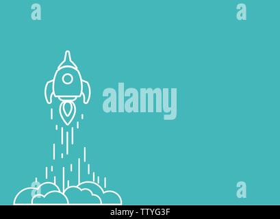 Rocket line ship with fire and clouds. Isolated on powder blue. Flat linear vector illustration with flying shuttle. Space travel. Space rocket launch - Stock Photo