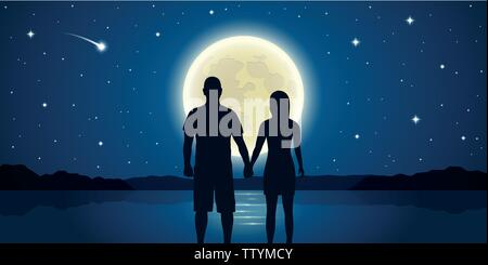romantic night couple in love at the sea with full moon and falling stars vector illustration EPS10 - Stock Photo