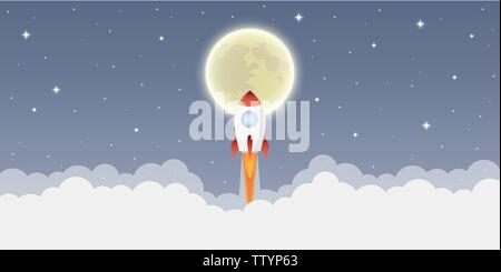 rocket launch into space to the moon in starry sky vector illustration EPS10 - Stock Photo