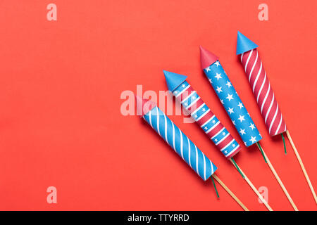 4th of July fireworks on red background Independence Day banner - Stock Photo