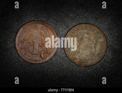 South Africa 1 cent, 1990 - Stock Photo