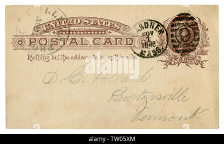 Gardner, Massachusetts, The USA - 2 November 1886: US historical Post Card with brown text in vignette, Imprinted One Cent Thomas Jefferson stamp - Stock Photo