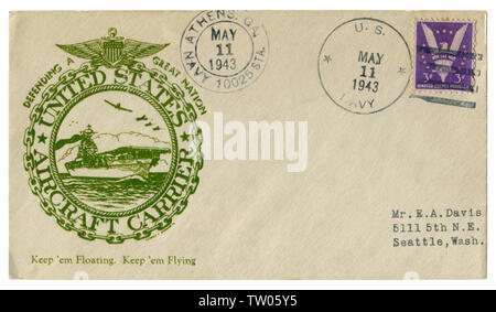 Athens, Georgia, The USA  - 11 May 1943: US historical envelope: cover with cachet Aircraft carrier. Defending a great nation. Second world war - Stock Photo