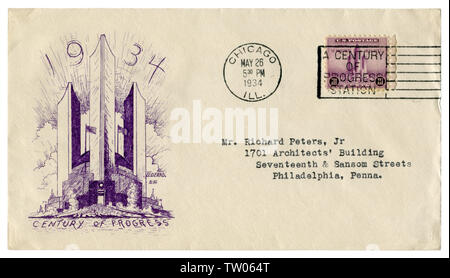Chicago, Illinois, The USA  - 26 MAY 1934: US historical envelope: cover with art cachet Century of Progress,  purple postage stamp federal building - Stock Photo