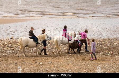 Children enjoying donkey rides on a beach - Stock Photo