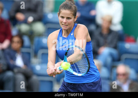 Birmingham, UK. 18th June, 2019. Julia Goerges of Germany during her match against Dayana Yastremska of Ukraine. Nature Valley Classic 2019, international Women's tennis, day 2 at the Edgbaston Priory Club in Birmingham, England on Tuesday 18th June 2019. Editorial use only. pic by Andrew Orchard, Credit: Andrew Orchard sports photography/Alamy Live News - Stock Photo
