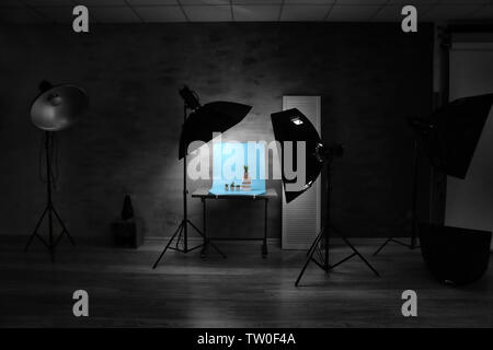 Interior of professional photo studio while shooting plants - Stock Photo