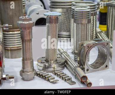 Bellow flexible expansion joint connection stainless steel - Stock Photo