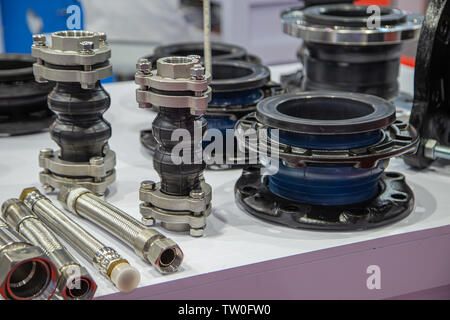 Bellow flexible joint for expansion in piping system - Stock Photo