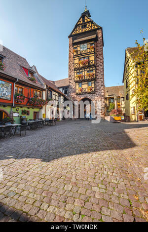 old town gate of the historical village Riquewihr, Alsace, France, town wall and tower - Stock Photo