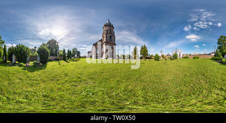 Full seamless hdri panorama 360 degrees angle view facade of church in beautiful decorative medieval neo gothic style architecture in small village in - Stock Photo