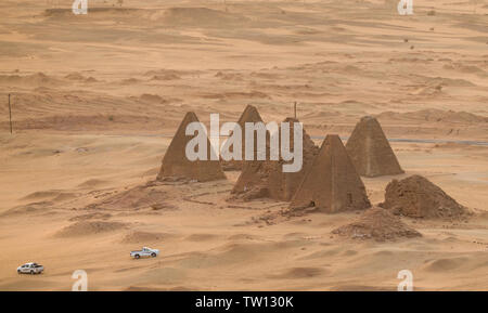 Top view of the pyramids of Karima near Nuri in Sudan, Africa - Stock Photo