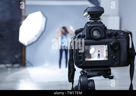 Professional camera in studio, closeup - Stock Photo
