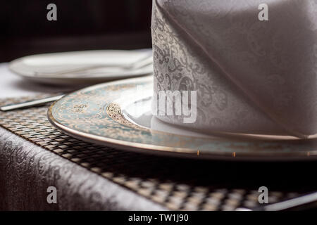 Tableware and plates in the restaurant. - Stock Photo
