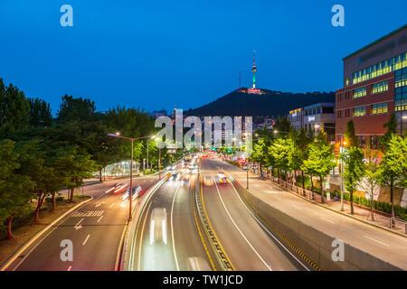 Traffic at Night in Seoul City,South Korea.