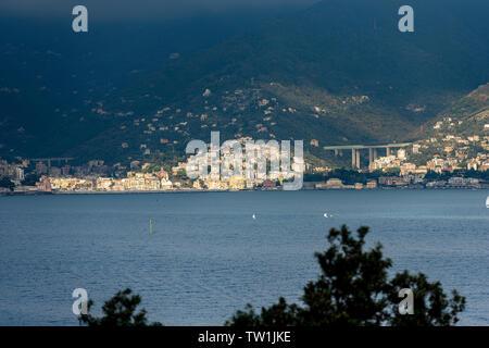 The coast of Liguria (Riviera di Levante) with the Zoagli Town, photographed from Portofino village, Genoa province, Northern Italy, Europe - Stock Photo