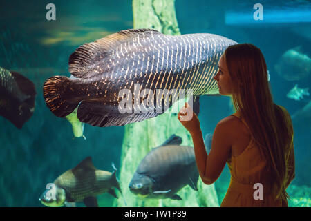 Young woman touches a stingray fish in an oceanarium tunnel - Stock Photo