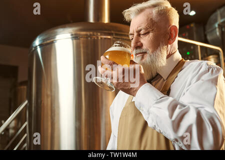 Brewery expert tasting product. Specialist standing near storage tank, holding glass with cold large beer with foam. Man wearing in white shirt and brown apron. - Stock Photo