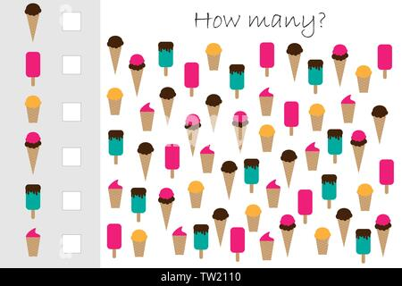 How many counting game with ice cream for kids, educational maths task for the development of logical thinking, preschool worksheet activity, count - Stock Photo