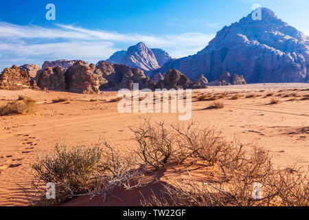 Rock formations in the Jordanian desert at Wadi Rum or Valley of the Moon. - Stock Photo
