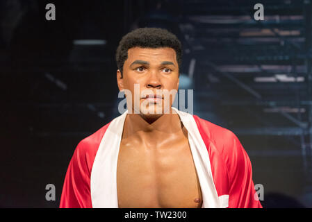 ISTANBUL, TURKEY - MARCH 16, 2017:  Muhammad Ali ( Cassius Clay ) wax figure at Madame Tussauds  museum in Istanbul. - Stock Photo