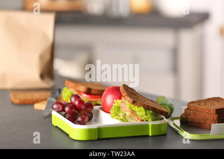 Sandwich for school lunch on table - Stock Photo
