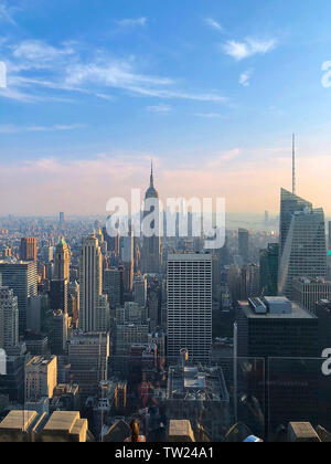 Epic view of Empire State & OWO from the Rockefeller at sunset, NEw York City, New York, USA - Stock Photo
