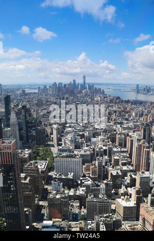 Epic view from the Empire State Buidling of Manhattan and the OWO, New York City, New York, USA - Stock Photo