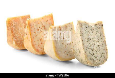 Set of various cheeses on white background - Stock Photo
