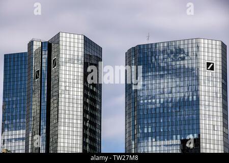 Skyline of Frankfurt am Main, skyscrapers of the Deutsche Bank, Taunusanlage, financial district, city center, Germany, - Stock Photo