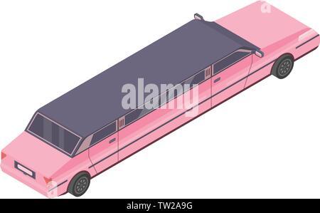 Pink limousine icon, isometric style - Stock Photo