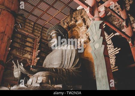 Nara, Japan - December 21, 2018. A Buddha statue in the Tōdai-ji temple, a Buddhist temple complex in the Nara Park. (Photo credit: Gonzales Photo - Thomas Neukum). - Stock Photo