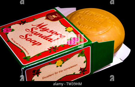 A fresh bar of Mysore sandal soap in its presentation box, a brand manufactured since 1916 by Indian company Karnataka Soaps and Detergents. - Stock Photo
