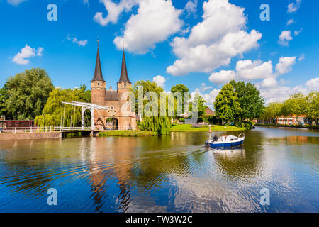 Canal in Delft, South Holland, Netherlands on sunny spring day