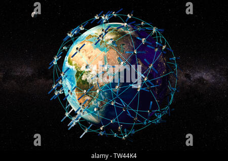 Space satellites around the Earth Globe, 3D rendering - Stock Photo