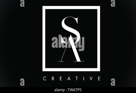 SA Letter Design Logo with Black and White Colors Trendy Vector Illustration. - Stock Photo