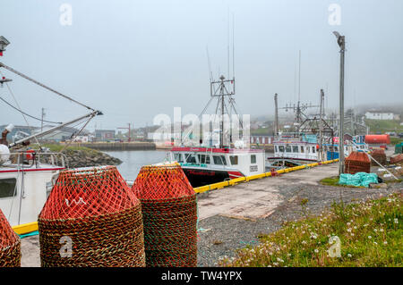 Fishing boats moored up in Branch harbour in fog, Newfoundland - Stock Photo