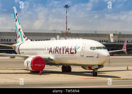 MILAN, ITALY - JUNE 2019: Air Italy Boeing 737 Max 8 parked at Milan Malepensa airport. Operations using this aircraft type were suspended as a result - Stock Photo