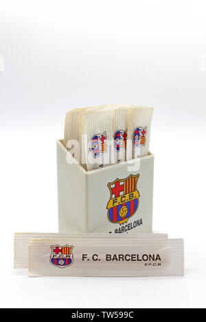 Vintage toothpicks plastic container with Barcelona football club logo, souvenir, isolated on white background, close-up - Stock Photo