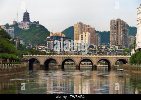 Bridge on Nanming River, Guiyang, Guizhou Province, China - Stock Photo