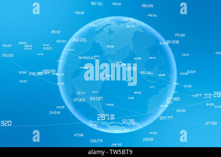 3D rendering, global big data concept light color background - Stock Photo