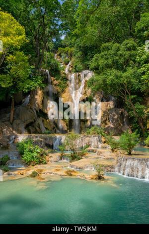 Kuang Si Waterfall in Laos Asia - Stock Photo