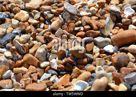 Pebble beach of big oval colorful stones brightly illuminated. - Stock Photo